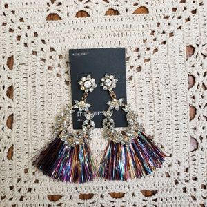 Free press dangle fringe multicolor earrings